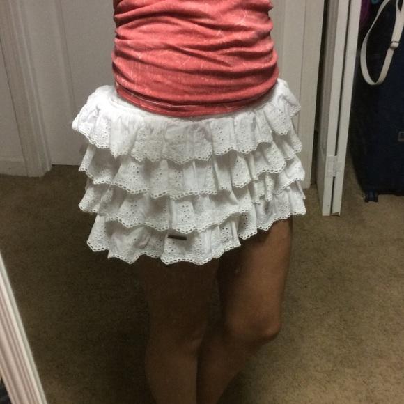 776a33f26f40 Abercrombie & Fitch Dresses & Skirts - White Eyelet Lace Ruffle Mini Skirt