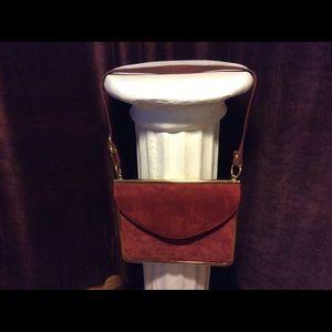 Vtg russet color suede cross body bag