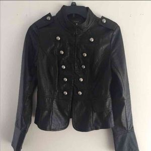 Faux Leather Military Style Jacket