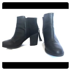 H&M black ankle boots with wedge