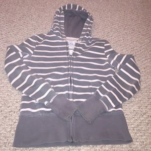 LFL Tops - Gray and pink stripped zip up hoodie