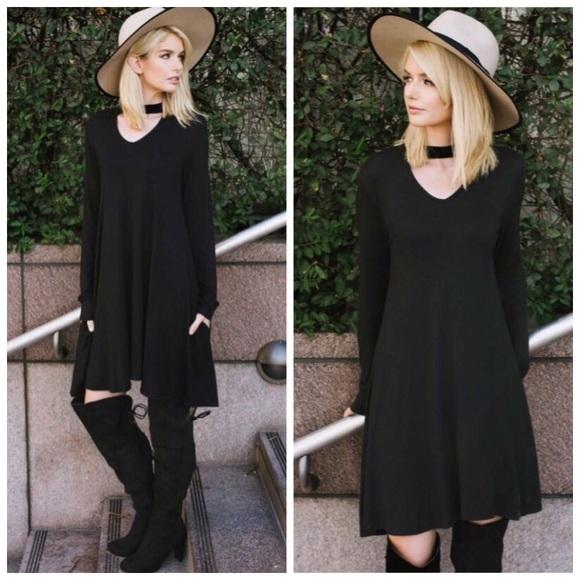 fe91e45f9eac Boho Black Choker Loose Fit Tunic Dress S M L XL