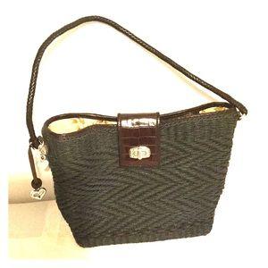 Brighton Dark Gray Woven Handbag w/ Floral Liner