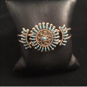 Zuni Needlepoint Turquoise & Sterling Silver Cuff