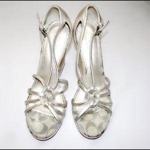 Coach Shoes - Coach Monogram Silver Wedge Sandals
