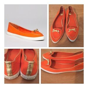 Tory Burch Orange and Gold Canvas Sneaker Flats