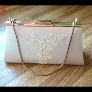 Handbags - White satin mini purse with beads and silver chain