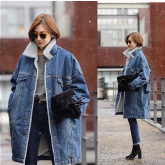 75% off Jackets & Blazers - 💕LAST💞Long Denim Jacket/ Parka with ...