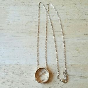 Gold chain in the circle pendant long necklace