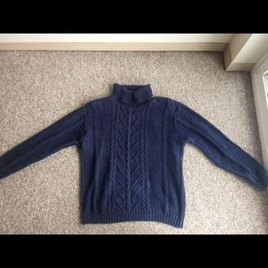 Blue knit turtle neck sweater