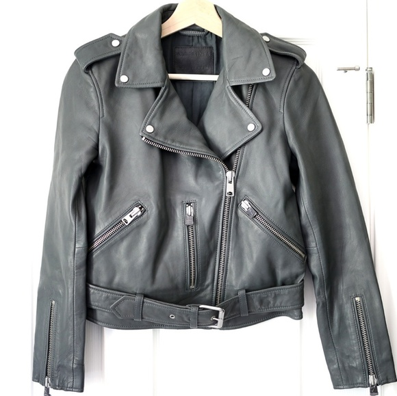 6bfdf91ff NWOT AllSaints Balfern Leather Biker Jacket, Gray