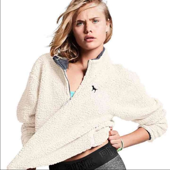 PINK Victoria's Secret - ❌SOLD❌PINK Cozy white Sherpa sweater ...