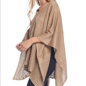 Boutique Sweaters - •Camel/Tan Lace Weave Poncho•