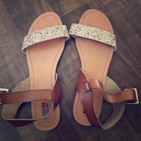 6bccda618dbde6 Gold brown sparkly sandals