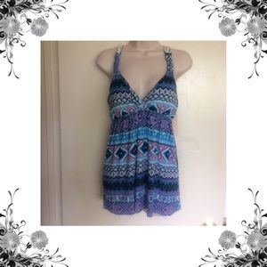 Pink Rose Tops - Sz S & XL Blue Print Crochet Back Tank