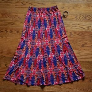 Susan Graver Dresses & Skirts - Liquid knit paneled maxi skirt / ikat boho