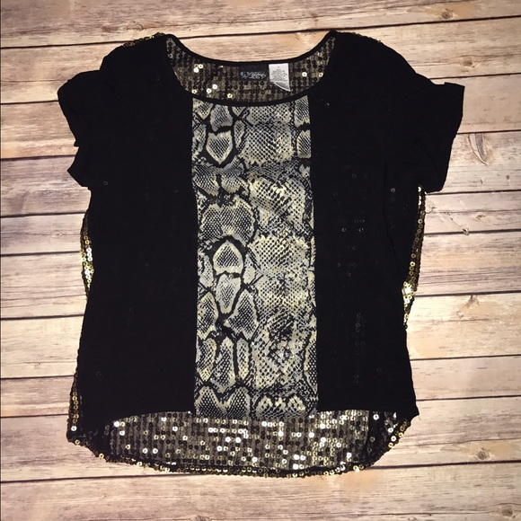 750d78233 Daytrip Tops | Black Snakeskin Gold Sequin Buckle Top S | Poshmark
