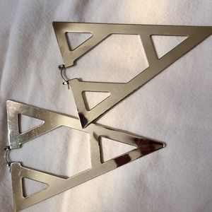 Large silver triangle earrings