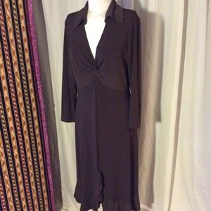 Donna Morgan Dresses & Skirts - Brown dress with collar and crisscross chest