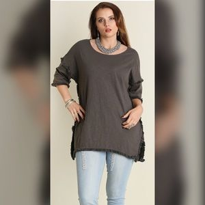 Tops - PLUS-Hi Low Tunic with Fringed Hem