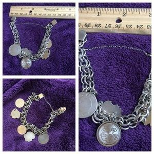 Vintage STERLING SILVER Antique CHARM Bracelet