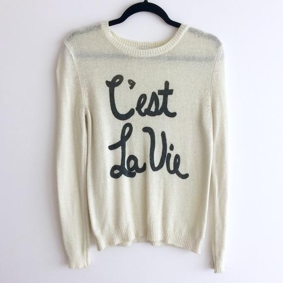 Forever 21 Sweaters Lightweight Cream Cest La Vie Sweater Poshmark
