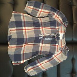 Abercrombie + fitch plaid print 3/4 sleeve