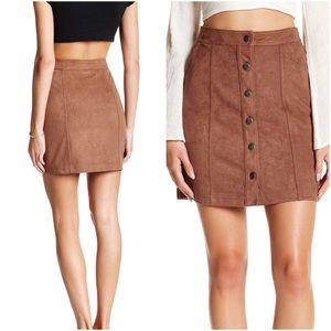 14th & Union Dresses & Skirts - Brown Bear Soft Faux Suede Button Front Skirt