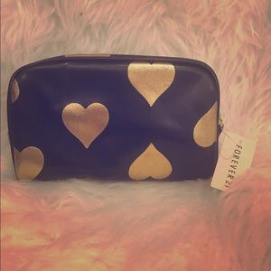 Nordstrom Accessories - Black and Gold Hearts Make Up Bag
