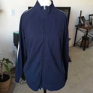 Navy Blue and White Athletic Jacket