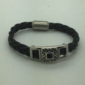 Other - Men's black braided leather bangle