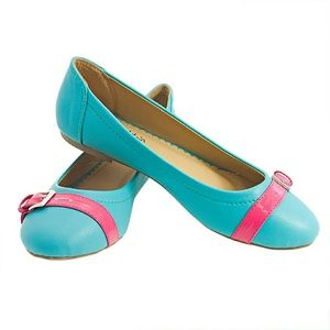 Women Ballet Buckled Flats b1332 Turquoise Pink