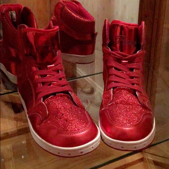 Chic Red Sparkly High Tops