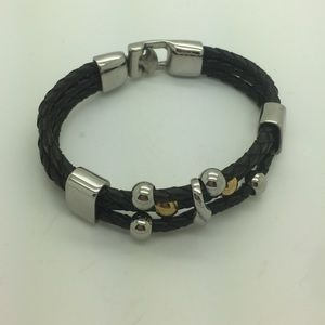 Other - Men's two tone black leather bangle