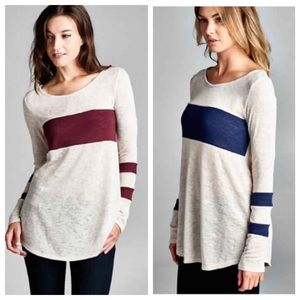 Colorblock Striped Long Sleeve Top {Navy, Wine}