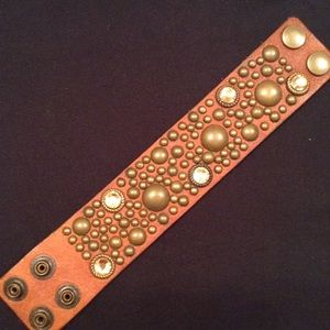 Leather Cuff with Brass Rivets and Amber Stones