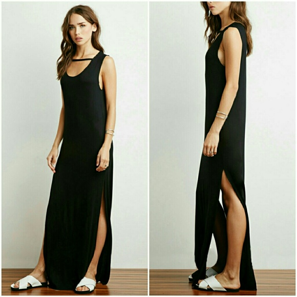 35b64789436 Forever 21 Black High Slit Cutout Maxi Dress