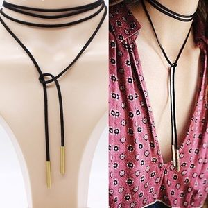 Jewelry - 1 HOUR SALE Leather Choker DIY GOLD Tip Necklace