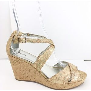 Alfani Shoes - Alfani Gold Cork Strappy Wedges Sandals Shoes 10