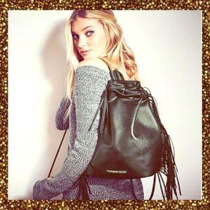Victoria's Secret Handbags - 💋HP 2/17💋NWT VS black fringe leather backpack