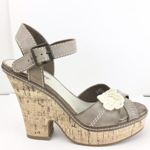 American Rag Shoes - American Rag Cork Platform Heels Tan Leather  9.5