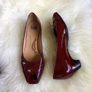 Sofft Shoes - Sofft Cabernet Patent Leather Wedge Peep Toe Heels