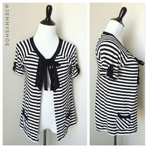 {anthropologie} striped short sleeve cardigan