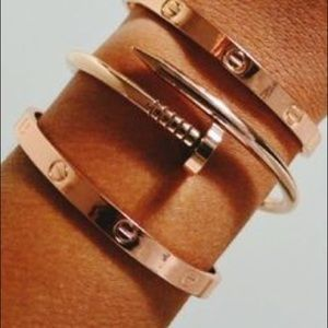 Stackable Rose Gold Nail Bracelet Bangle Cuff