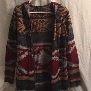 Multicolored Long Sweater with Hood