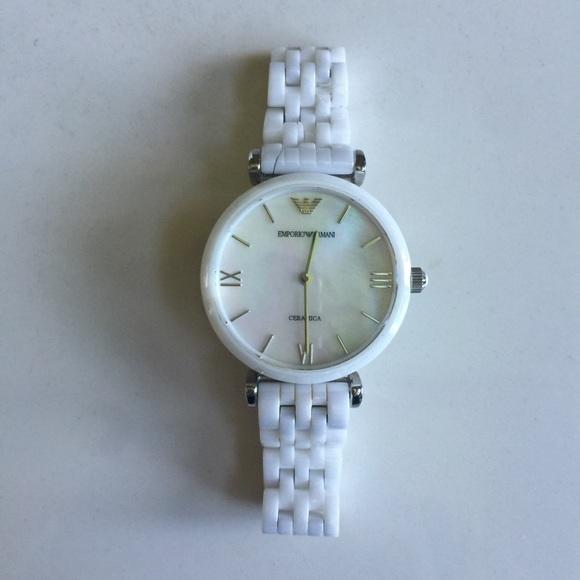 0070868870 Emporio Armani White Ceramic Ladies Watch AR1485