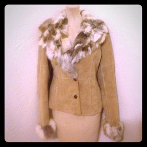 Wilsons Leather Jackets & Blazers - Wilsons Leather suede tan rabbit fur jacket