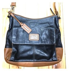 Tignanello black brown leather cross body shoulder