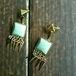 October Love Jewelry - October love 18k gold plated turquoise earrings