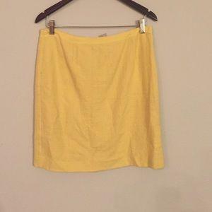 Yellow linen Banana Republic Pencil Skirt 10p